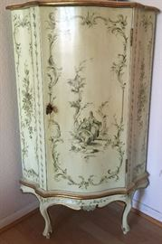Hand Painted Corner Cabinet