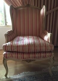 Pair Danby Wing Back French Provincial Pink Striped Chairs