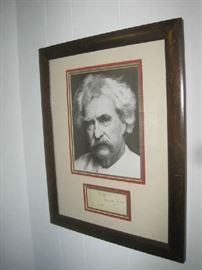 Antique framed Mark Twain picture with Mark Twain's signature below- Dec.16 1900