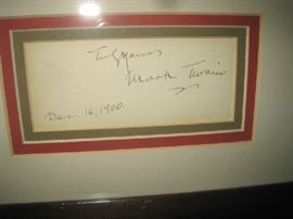 Mark Twain signature dated Dec. 16, 2000 with Mark Twain picture