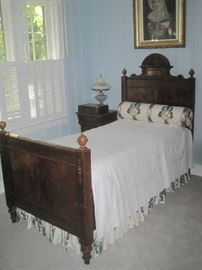 Antique twin bed and bedding