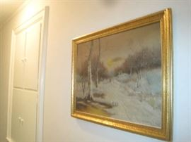 Oil on canvas winter scene- signed Ruth Dahlstrom