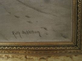 Signed painting by Ruth Dahlstrom - gold gilt frame