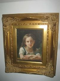Oil on canvas young girl in ornate gold gilt frame