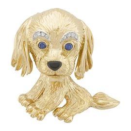 1965 VAN CLEEF & ARPELS 18K DIAMOND PLATINUM puppy