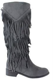 Fringed Grey Below Calf Boot