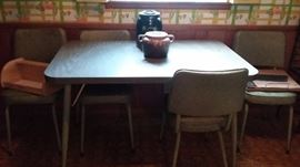 Vintage Formica top kitchen table and chairs - green