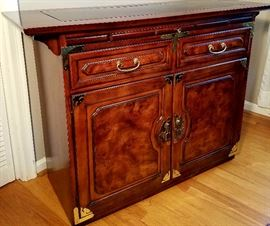 Bernhart Asian inspired side board/buffet server with brass accents.