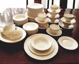 "Wedgwood ""Willow Weave"" pattern 8 (6pc) place settings. With additional serving bowl and sugar and creamer."