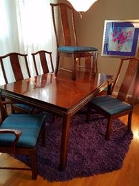 "Bernhart Asian Inspired design dining set with 4 side chairs and 2 arm chairs. Comes with 2 18"" leaves (not pictured). Rug and artwork are NFS."