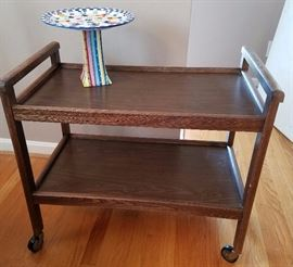 Wooden bar cart with hand painted cake stand.