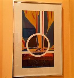 Framed Modernist collage. Original