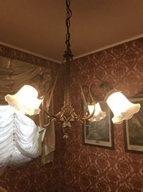 Antique 5 arm brass chandelier