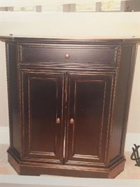 """Piccola Black Cabinet $42.50.00  Like New Cabinet for Small Spaces,  Hardwood and Veneers 28.5"""" X 27"""" X 10"""".  Drawer opens with doors below.  (From Ballard Design) Beautiful Piece!   **BUY IT NOW PAYPAL** LOT# 303"""