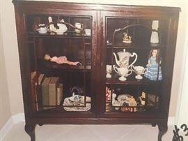 """SOLD----LOT#304  **BUY IT NOW PAYPAL** $ 100.00. Antique Book Cabinet, Black Walnut Wood (Original) w/Glass Doors, Keyhole w/Skeleton Key (Lockable) 46"""" H X 44 1/4 W X 12 1/2 Deep.  Can be used for books or display. Excellent Condition!"""