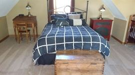 Bed, side tables, chest and lamps