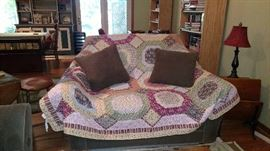 Couch with matching oversized chair, lamps, pillow