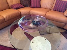 Cantilever glass top coffee  table , leather sofa