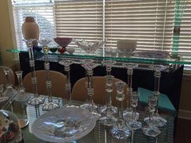 glassware , cryatal , candle holders,