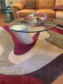Cantilever glasstop coffee table