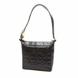 CHANEL CC Logo Chocolate Bar Lambskin Leather Shoulder Bag black / Come with cross body chain