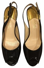 Cole Haan Nike Air black Patent Leather open Toe Sling back Heels size 6.5 Black Pumps Shoes