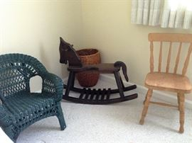 Child's chairs and rocking horse