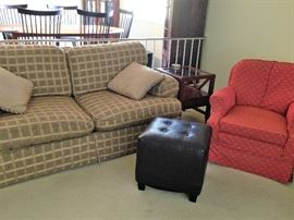smaller sofa, side chair and ottoman