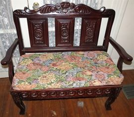 Antique Very Ornate Cherry Parlor Bench
