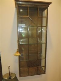 Glass Front Brass Chippendale Style Wall Cabinet