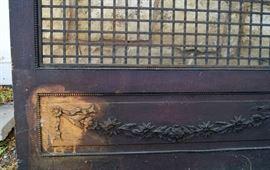 Swag detailing on oak screen door