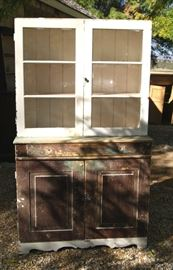 Partially stripped pine cupboard from Utah with original wavy glass