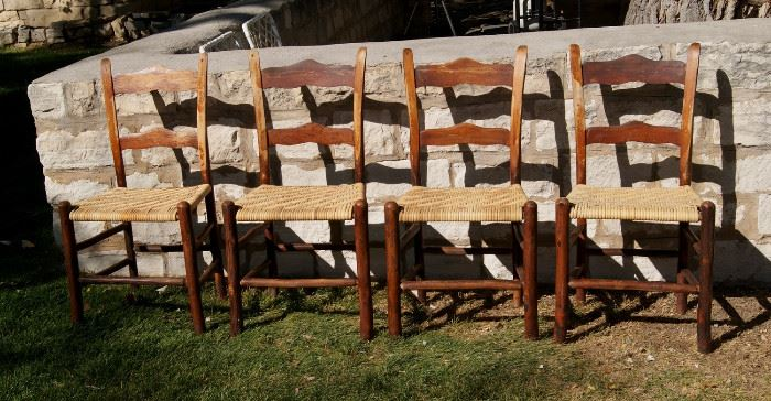 Set of 4 Old Hickory Chairs, stamped with maker's mark and brass tags