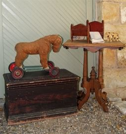 Hand grained Utah pine chest, horse ride-on toy, Eastlake end table attributed to the California Gold Rush, various children's playthings