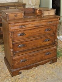 Pine pilaster chest of drawers with fruit handles, Danish influence, from Sanpete County