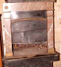 Marble stove fronts with rouge royale marble and bronze mounts, circa 1840's French