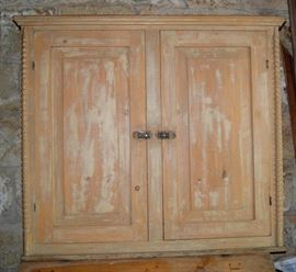 Utah pine upper cabinet with blue paint interior, from the Yardley house in Manti.  Signed Chas. Bird, Manti