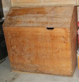 Wood pine bin with cowboy brand marks, dovetail joinery