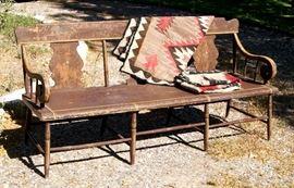 Pennsylvania Greek Revival Settee, wool Navajo rugs