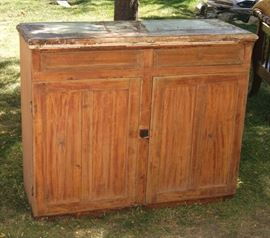 Utah pine cabinet bottom, paint partially stripped off