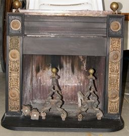 1880 American Franklin stove, cast iron