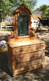 Pine Eastlake chest of drawers with mirror, American Cottage style