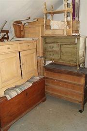 Washstands, New England blanket chest, misc. furniture