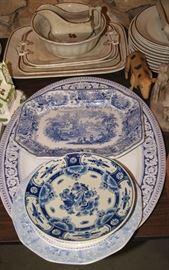 Blue transferware china, Tea Leaf Ironstone china