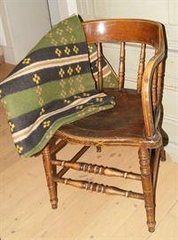 Wool blanket, painted Utah captain's chair