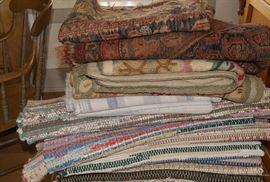 Various Orienta, hooked, and rag rugs
