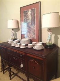 Antique buffet (matches table); vintage figurine lamps; Adams Brown Shamrock china