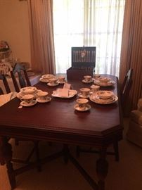 """Antique dining table & chairs; Wedgwood """"Potpourri"""" china"""