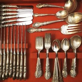 62 pc Rogers Old Charleston Sterling Flatware