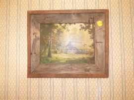 Oil painting in barn wood frame